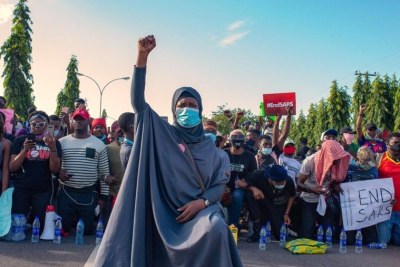 Nigerian activist Aisha Yesufu, during the #EndSARS protest at Abuja on October 10, 2020 (file photo).