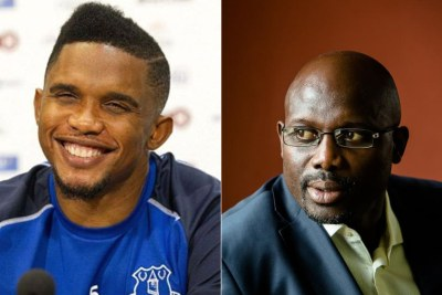 (g) Samuel Eto'O, ancien Internatonal Camerounais (d) George Weah Ancien international Libérien