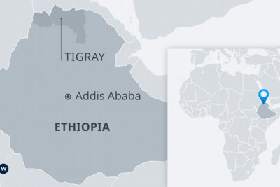 A map showing the Tigray region of Ethiopia.