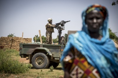 A UN peacekeeper in the village of Diallo in the Bandiagara area in Mopti in Mali.