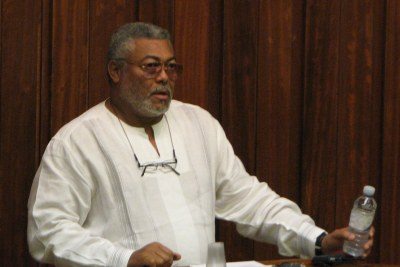 Former president of Ghana Jerry Rawlings, speaking at the Oxford Law Faculty in 2009.