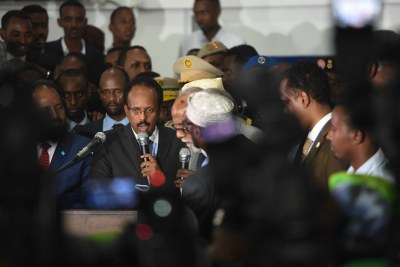 Mohamed Abdullahi Farmajo is sworn in as president after he was declared the winner of the election held at the Mogadishu Airport hangar in Mogadishu on February 8, 2017.