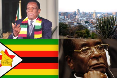 President Emmerson Mnangagwa, top left, view of capital Harare, national flag, late former president Robert Mugabe