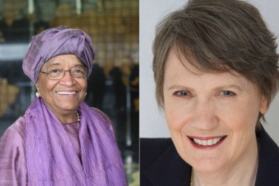 Former Liberian President Ellen Johnson Sirleaf and former New Zealand Prime Minister Helen Clark, co-chairs of the Independent Panel for Pandemic Preparedness and Response, Independent Panel for Pandemic Preparedness and Response