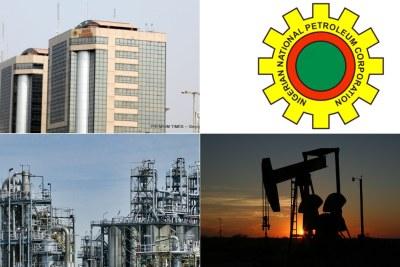 NNPC headquarters, top left, refinery, bottom left, oil field, bottom right.