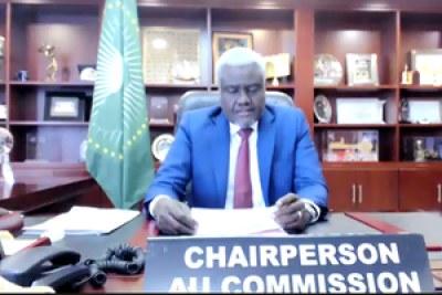 Président de la commission de l'U,  Moussa Faki Mahamat
