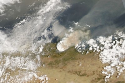 On August 10, 2021, the Moderate Resolution Imaging Spectroradiometer (MODIS) on NASA's Aqua satellite acquired this natural-color image of a vast smoke plume over northern Algeria. Some of the worst fires have occurred in mountain areas near Bejaia and Tizi-Ouzou. (NASA Earth Observatory image by Lauren Dauphin, using MODIS data from NASA EOSDIS LANCE and GIBS/Worldview.)
