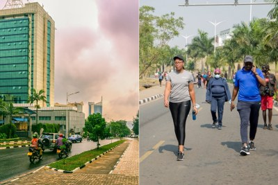 Empty streets in Kigali City (left) and car-free day participants (right).