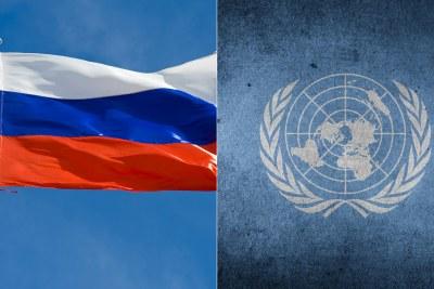 drapeau de la Russie et Le Logo de l'ONU