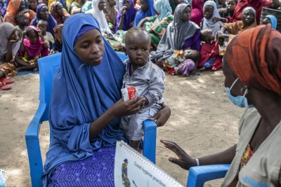 Children are assessed for malnutrition at an IDP camp in Borno State, Nigeria (file photo)